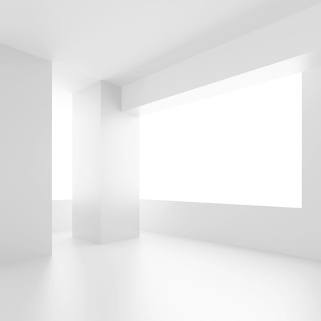 interior window: Abstract Architecture Background. White Interior Design. Empty Room with Window. 3d Rendering