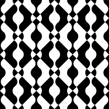 monochrome: Seamless Curved Shape Pattern. Vector Black and White Background