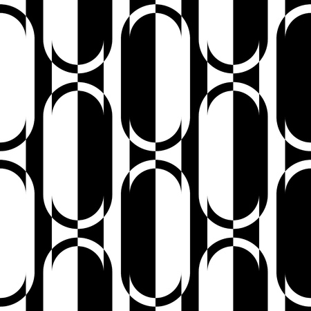 elipse: Seamless Vertical Stripe and Ellipse Pattern. Vector Black and White Background Vectores
