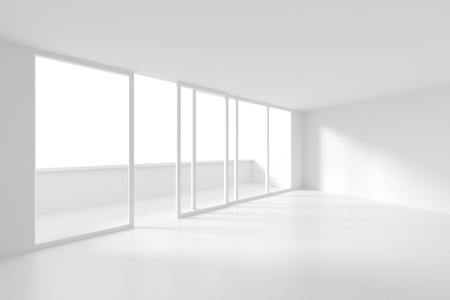 minimal: Modern Interior Background. White Empty Room Stock Photo