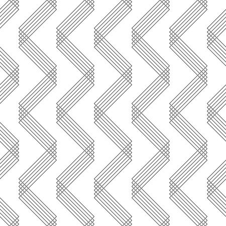Seamless ZigZag Pattern. Abstract  Black and White Background. Vector Regular Line Texture