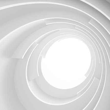 corporate buildings: 3d Abstract Architecture Background. White Circular Building