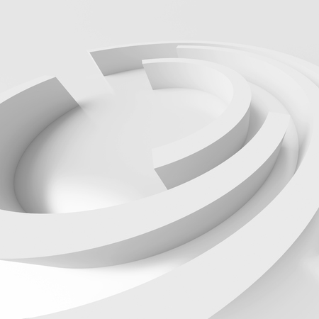architecture design: 3d Rendering of Abstract Architecture Background. White Circular Design