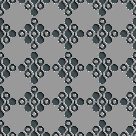 normal: Seamless Damask Pattern. Vector Circle Background. Gray Regular Texture Illustration