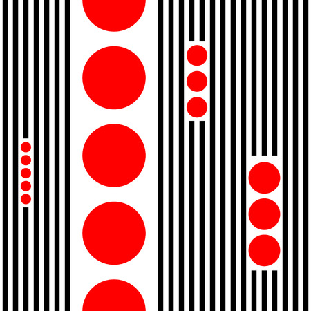 Seamless Vertical Stripe and Circle Pattern. Vector Black and Red Chaotic Background. Minimal Geometric Wallpaper