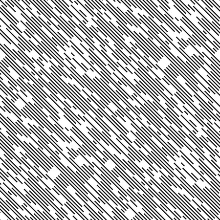 Seamless Diagonal Chaotic Line Pattern. Vector Black and White Background. Minimal Geometric Texture