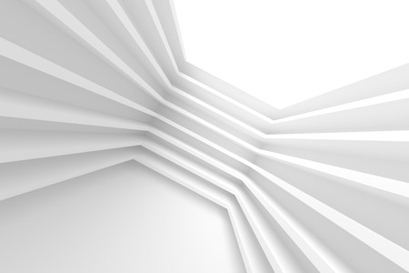 architecture: Abstract Architecture Design. White Modern Background. 3d Illustration