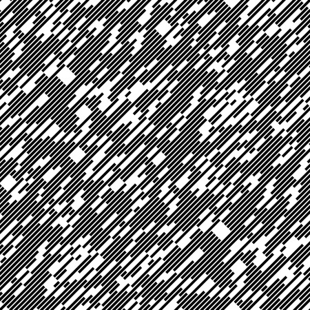 chaotic: Seamless Diagonal Chaotic Line Pattern. Vector Black and White Background. Minimal Geometric Texture
