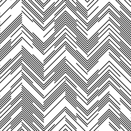 Seamless Chaotic Zig Zag Pattern. Abstract  Monochrome Background. Vector Regular Line Texture