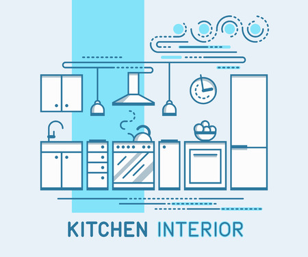 modern kitchen interior: Modern Kitchen Interior Design. Flat Style Vector Illustration. Minimal Line Template.