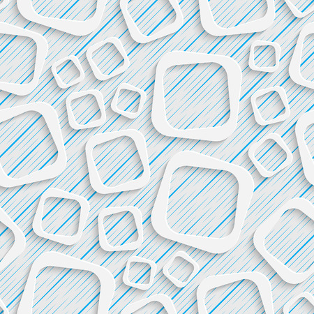 Abstract Square Pattern. Seamless Geometric Background. Vector White and Blue Wallpaper