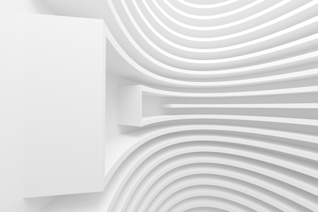 bstract: 3d AIllustration of bstract Architecture Background. White Circular Building
