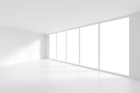 interior window: 3d rendering of White Empty Room with Window. Modern Interior Background Stock Photo
