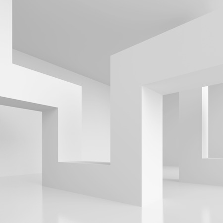Abstract design: 3d Illustration of White Modern Interior Background. Abstract Architecture Design