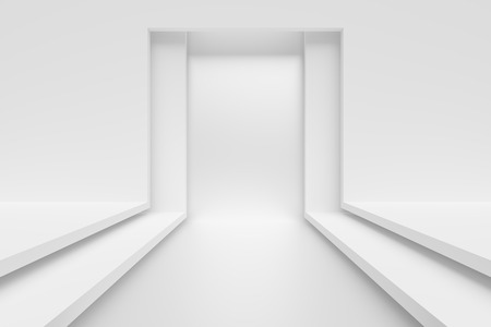 modern interior: 3d Illustration of White Modern Interior Background Stock Photo