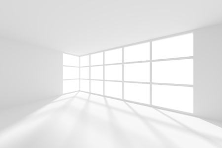 od: 3d Illustration od White Interior Background. Empty Room with Window Stock Photo