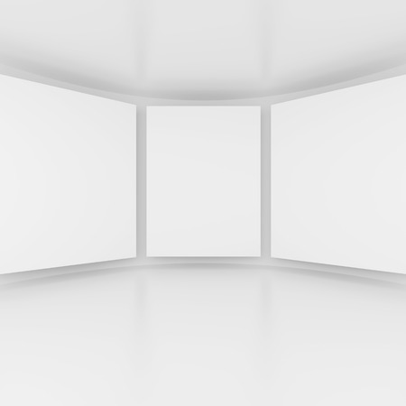 gallery interior: 3d Rendering of Abstract Gallery Interior. White Modern Architecture Background Stock Photo