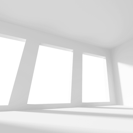 od: 3d Illustration od White Interior Design. Empty Room with Window. Abstract Architecture Background