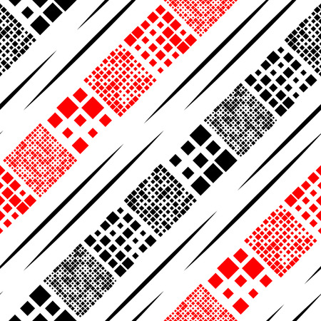 diagonal  square: Seamless Diagonal Stripe and Chaotic Square Pattern. Black and Red Background