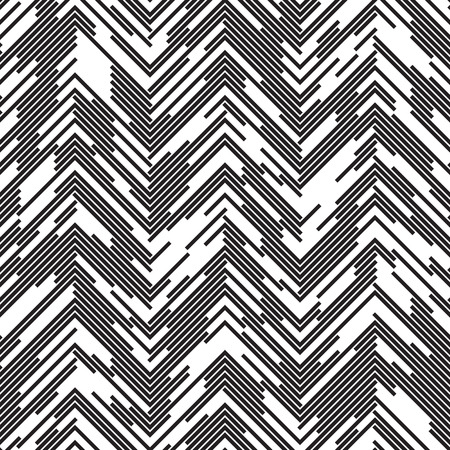 chaotic: Seamless ZigZag Pattern. Abstract  Black and White Background. Chaotic Dotted Line Ornament