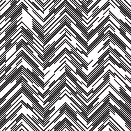 Zigzag sin fisuras. Resumen Negro y fondo blanco. Caótica del ornamento línea de puntos