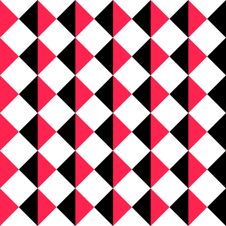 Seamless Square Pattern. Abstract Black and Red Background. Vector Regular Texture Illustration