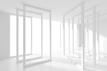 od: 3d Illustration od Abstract  Interior Background. White Room with Window