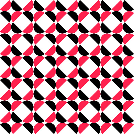 red shape: Seamless Curved Shape Pattern. Vector Black and Red Background