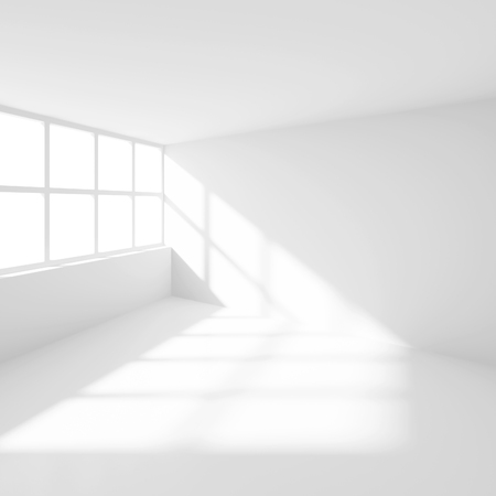 office space: 3d Illustration od White Interior Design. Empty Room with Window. Abstract Architecture Background
