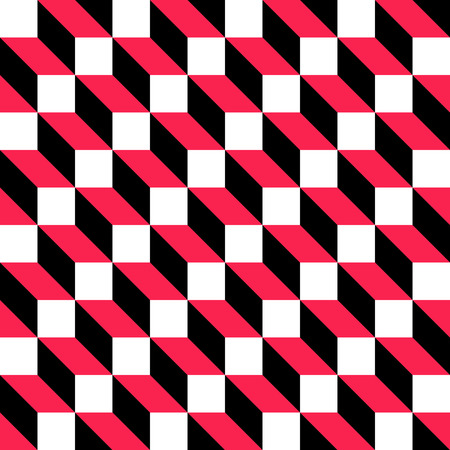 Seamless Cube Pattern. Abstract Black and Red Background. Vector Regular Texture Illustration
