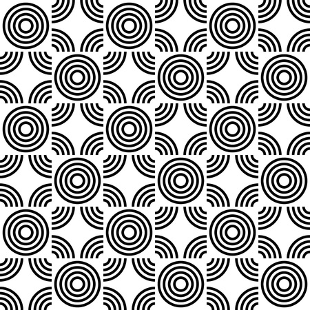 fabric pattern: Seamless Circle Pattern. Abstract Black and White Background. Vector Regular Texture