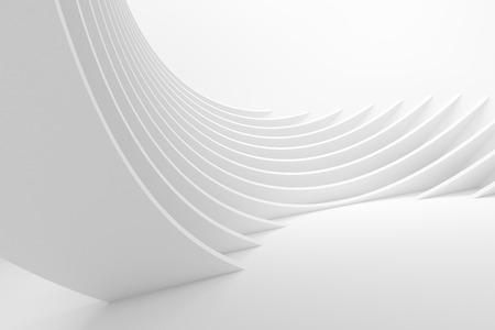 Weiß Architektur Circular Hintergrund. Abstrakt Interior Design. 3D-Rendering Moderne Architektur. Futuristische Gebäude Bau