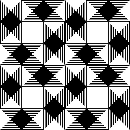 geometric lines: Seamless Square and Stripe Pattern. Abstract Monochrome Background. Vector Regular Texture Illustration