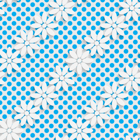 futuristic wallpaper: Seamless Flower Design. Futuristic Tile Pattern. 3d Elegant Minimal Geometric Background. Abstract White and Blue Grid Wallpaper