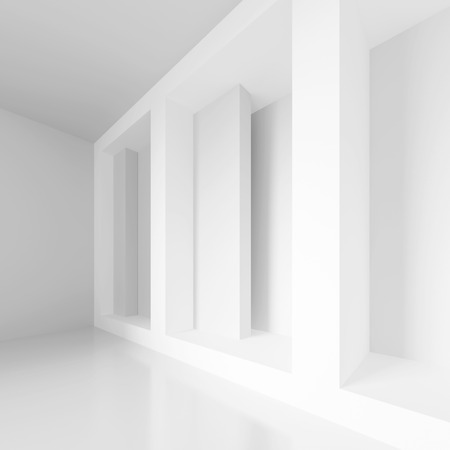 architecture abstract: 3d Rendering of Abstract Gallery Interior. White Modern Architecture Background Stock Photo
