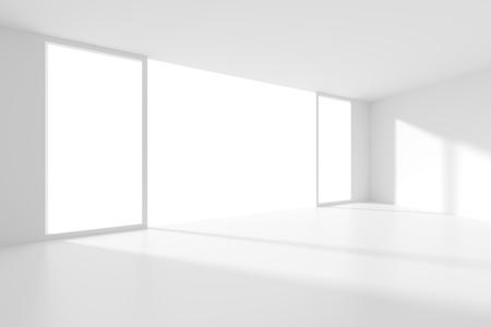 modern interior design: Abstract Interior Design. White Modern Background. 3d Illustration of Modern Architecture Concept Stock Photo