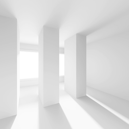 od: 3d Illustration od White Interior Design. Empty Room with Window and Columns. Abstract Architecture Background