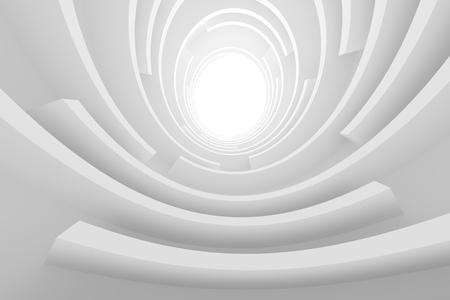 3d Illustration of Abstract Tunnel Background. White Circular Building. Modern Architecture Design