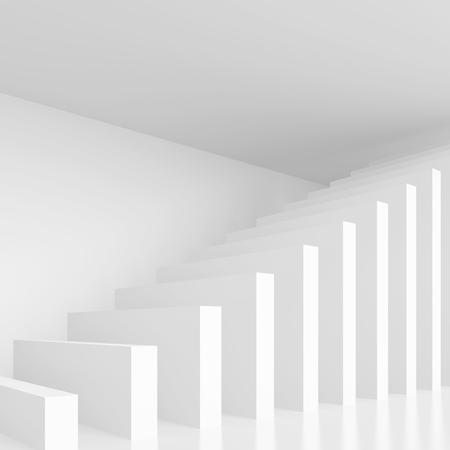 modern interior design: Column Interior Design. White Modern Background. 3d Rendering Stock Photo