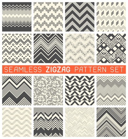 Seamless Zig Zag Pattern Set. Chevron Grapic Print Design. Abstract Zigzag Background. Wrapping Texture Collection. Vector Herringbone Ornament