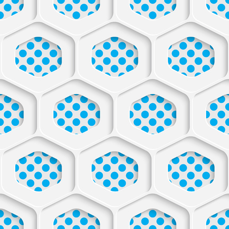 futuristic wallpaper: Seamless Hexagon Design. Futuristic Tile Pattern. 3d Elegant Minimal Geometric Background. Abstract White and Blue Grid Wallpaper Illustration