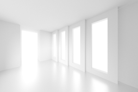 od: 3d Illustration od White Interior Design. Empty Room with Windows. Abstract Architecture Background