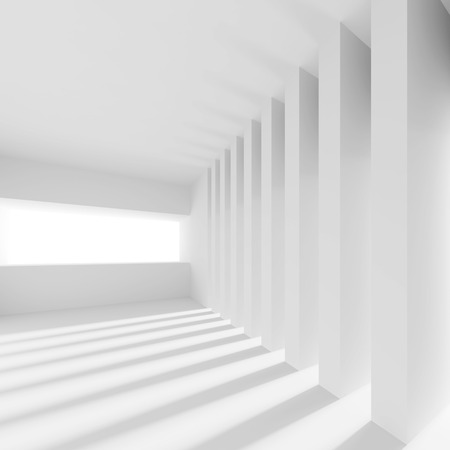 office construction: White Building Construction. Abstract Futuristic Architecture Background. Minimal Office Interior Design. Empty Room with Window and Columns. Geometric Shapes Structure. 3d Render