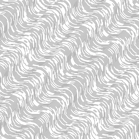 vintage wave: Seamless Wave Pattern. Simple Black and White Regular Line Texture. Minimal Vintage Print Design