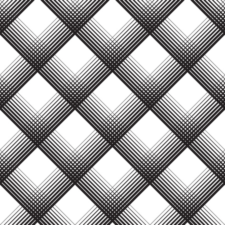 Seamless Tartan Pattern. Vector Black and White Woven Background. British Plaid Ornament. Abstract Diagonal Thin Line Art Pattern. Wrapping Paper Checks Texture