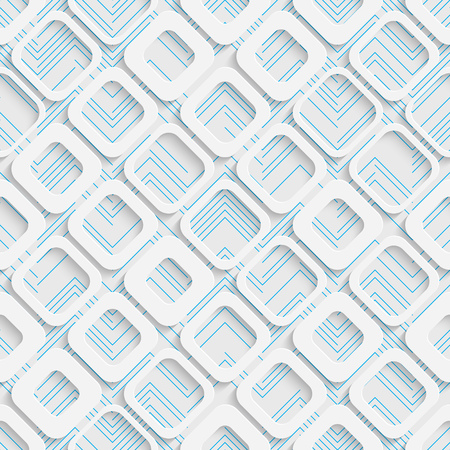 futuristic background: Seamless Square Design. Futuristic Tile Pattern. 3d Elegant Minimal Geometric Background. Abstract White and Blue Grid Wallpaper