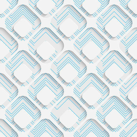 futuristic wallpaper: Seamless Square Design. Futuristic Tile Pattern. 3d Elegant Minimal Geometric Background. Abstract White and Blue Grid Wallpaper