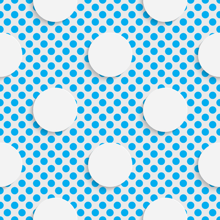 Seamless Circle Pattern. White and Blue Minimalistic Ornament. Geometric Decorative Wallpaper. Abstract Fashion Background. Print Graphic Design. Illustration