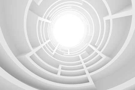 Abstract Architecture Background. 3d Illustration of White Circular Building. Modern Geometric Wallpaper. Futuristic Tunnel Design Stock Photo