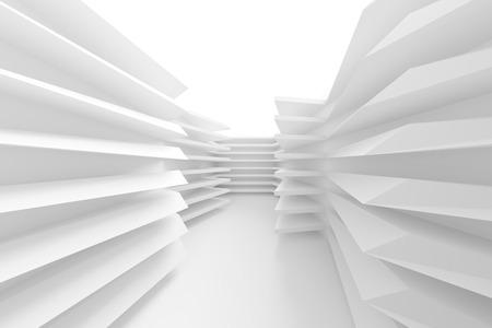modern interior design: Abstract Architecture Background. White Minimal Interior Design, 3d Illustration of Modern Building Construction
